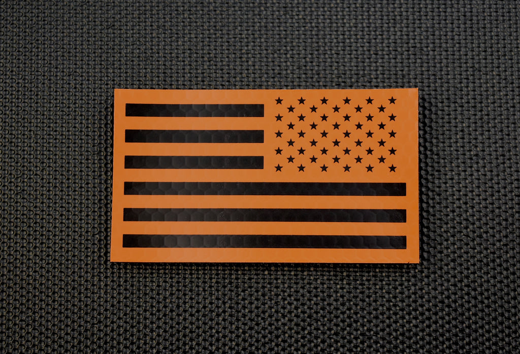 Infrared Reverse US Flag Patch - Orange & Black / Search & Rescue