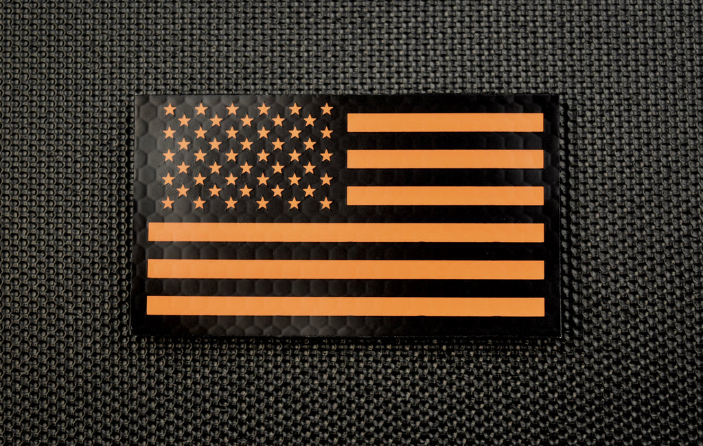 Infrared US Flag Patch Set - Black & Orange / Search & Rescue