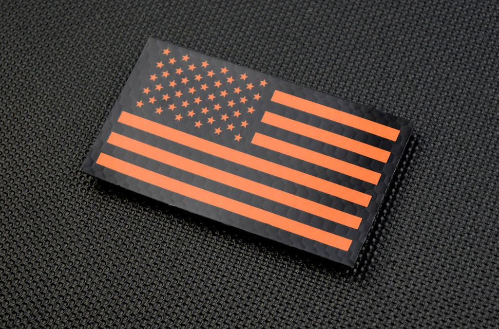 Infrared US Flag Patch - Black & Orange / Search & Rescue