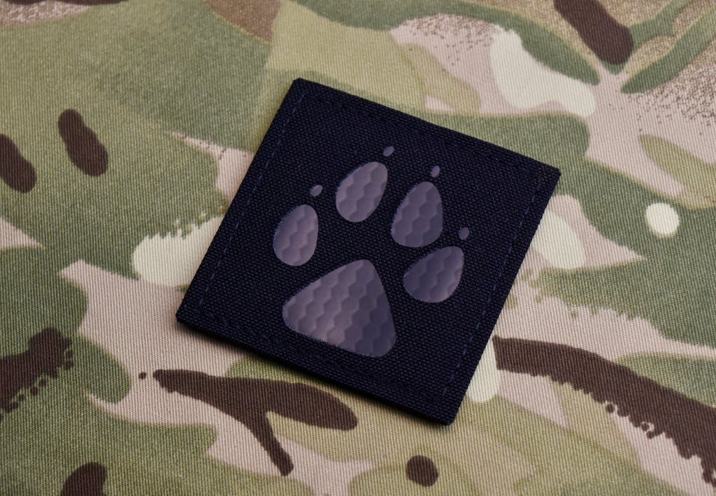 Infrared K9 Paw Laser Cut Morale Patch - Black