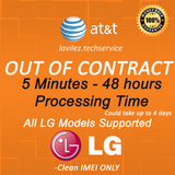 AT&T OUT OF CONTRACT LG FAST UNLOCK 5 MINUTES- 48HOURS