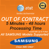 AT&T OUT OF CONTRACT Samsung FAST UNLOCK 5 MINUTES- 48HOURS
