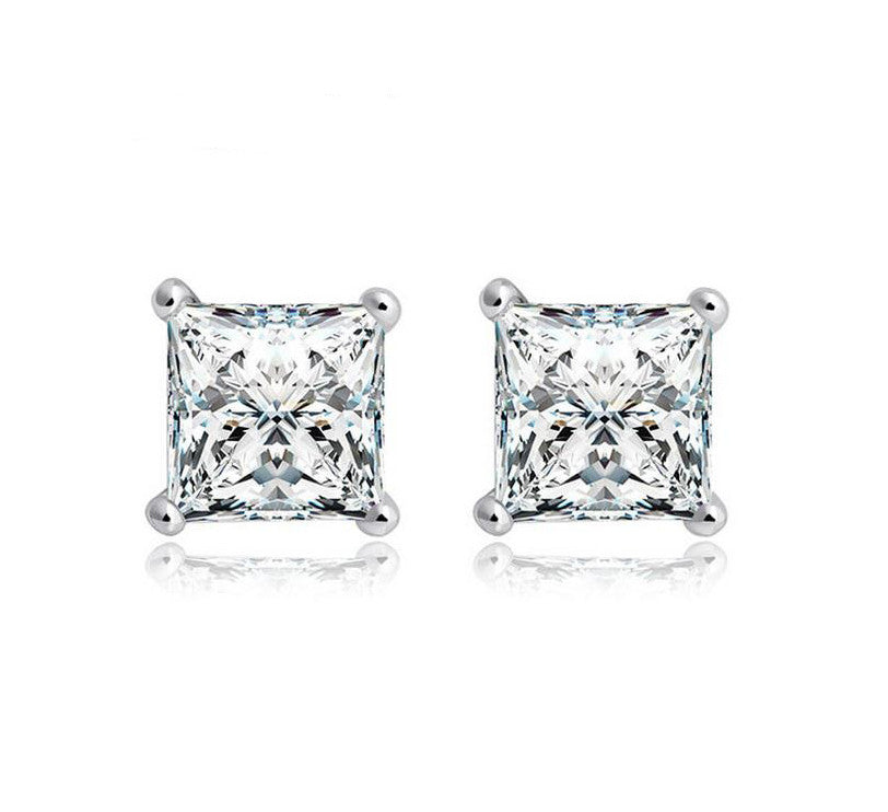 invisible setting princess cut earrings wh stud diamond