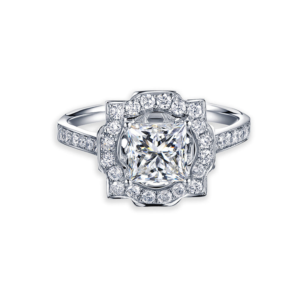 deco princess cut moissanite halo engagement ring with
