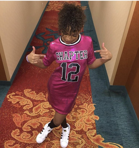 Sequin Dress with Custom Varsity letters. Chapter 12. Custom Pink Sequin Jersey. Hot Pink Sequin Jersey with Black Chapter 12 letters.