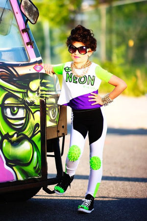 60d4eb5beb287 Lime Green Kneepatch Leggings with Matching Crop Top Set ...