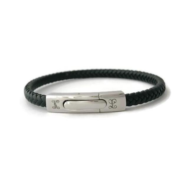 Leather bracelet - Initial Monogram