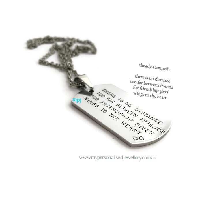 Friendship Dog Tag Necklace - My Personalised Jewellery - Handstamped MPJ - 1