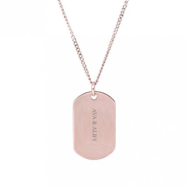Military ID Dog Tag - Rose Gold Plated - My Personalised Jewellery