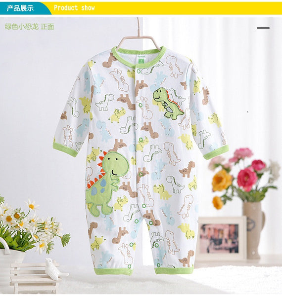 0-12M Newborn Baby Boy Rompers Spring Autumn Cotton Cartoon Panda Rompers Underwear Long Sleeves Striped Baby Clothing V20