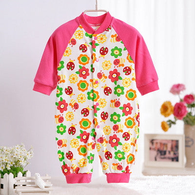 0-12M Newborn Baby Girls Rompers Spring Autumn Cotton Cartoon Rompers Underwear Long Sleeves Pink Red Baby Clothing V20
