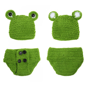 0-12M Newborn Baby Photo Props Infant Baby Crochet Frog Hats Knitted Tod Newborn Photography Props Infant Costume Outfi