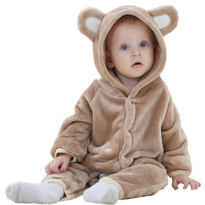 0-2 M Soft Flannel Lovely Animal Bear Shape Brown White Pink Baby Boy Girl Clothing Hooded Infant Baby Rompers Toddle Jumpsuit