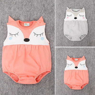 0-24M Newborn Baby Clothes Cute Cartoon Fox Bodysuit Summer Sleeveless Infant Kids Baby Body Clothes Onesies Bodysuits