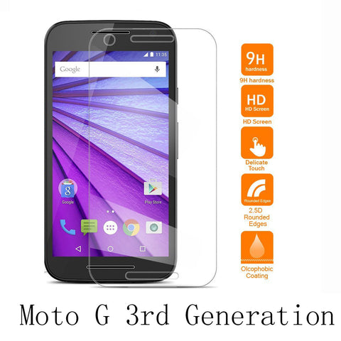 0.26mm Tempered Glass For G3 Motorola Moto G 3rd Generation 9H Hardness 2.5d Rounded Edges Screen Protector Film Guard
