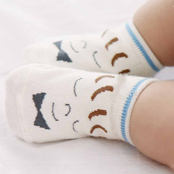 0-3T Cute Girls Boys Smile Face Printed Baby Socks Newborn Soft Cartoon Parttern Socks KU64