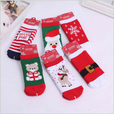 0-5T Children Winter Thicking Cute Cartoon Jacquard Terry Christmas Socks 6Colors Christmas Gifts Meias Kids Socks