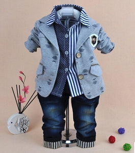 0-5Y baby boy gentlemen clothing set 3pcs boys clothing kids jeans suit set children clothing boys vestidos baby boy clothes
