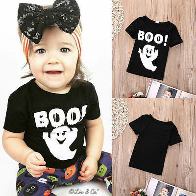 0-5Y Toddler Kids Baby Boys Girls Black Casual T-shirt Short Sleeve BOO Tops Clothes Unisex