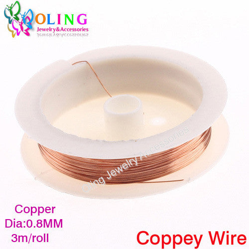 0.8MM 3M Roll Craft copper wire plated Golden Silver Colored Beading Findings DIY Bracelet Earring necklace choker Making 2016