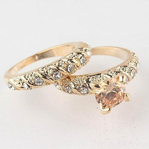 0 Fashion 2Pcs Set Gold Filled Round Cut Wedding Engagement Solid Ring Set Size 7 8 9