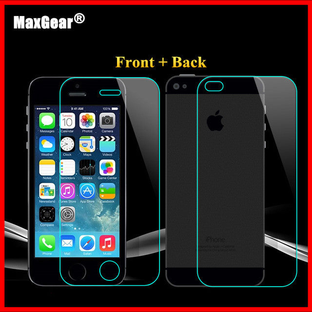 0.3mm 9H Front + Back Tempered Glass For iPhone 4 4s Rear Screen Protector Anti Shatter Film 2015 New Free Shiping