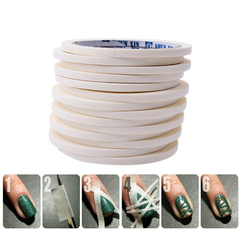 0.5cm*17m Manicure 3D Nail Art Tips Creative Nails Stripe Tape Rolls White Tape Stickers For Masking Pattern JH225