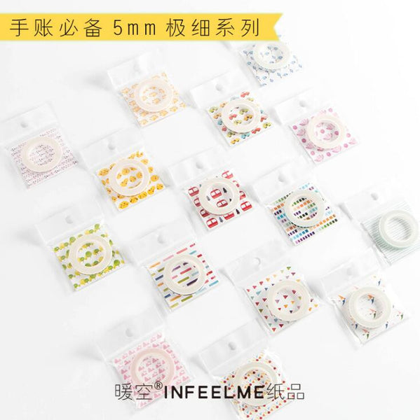 0.5cm Wide Slim Infeel Me Hug Series Decorative Washi Tape DIY Scrapbooking Masking Craft Tape School Office Supply