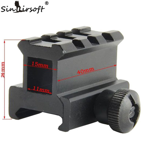 "0.83"" High See-through See-thru Design 3-Slot Med-Profile Super Compact Riser Mount Picatinny Weaver Rails Free Shipping"