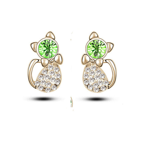 Classic Gold Plated Crystal Stud Earrings Women 052