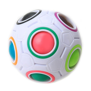 1* Fun Creative Spherical Magic Cube Speed Rainbow Ball Football Puzzles Kids Educational Learning Toys for Children Adult Gifts