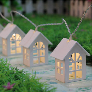 1*1.65M 10LED Wooden Warm House Shaped String Lights 2*AA Battery-powered LED String Lights for House Wedding Garden Decoration
