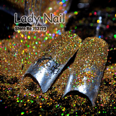 "1 128"" Small Glitter Dust Laser Holographic Gold Nails Tips Dazzling Hexagon Nail Art and Glitter Crafts N47"