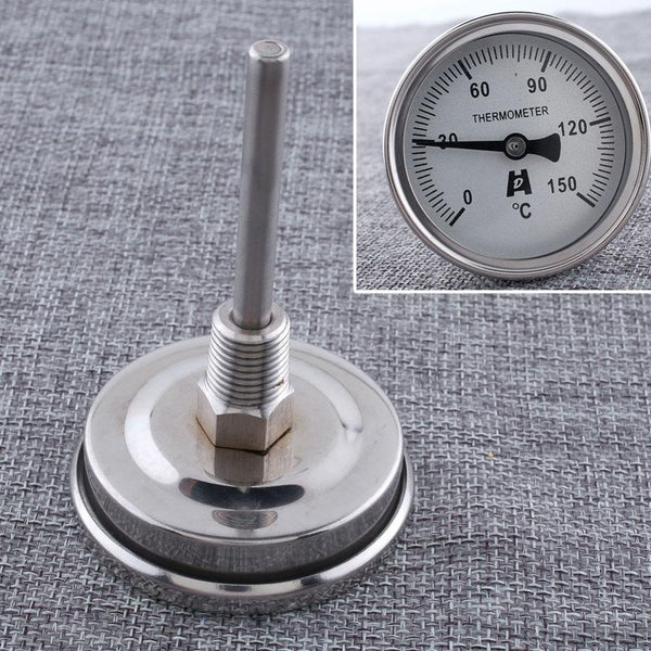 "1 2"" NPT Threaded Stainless Steel Thermometer Moonshine Condenser Kitchen Food Cooking Gauge BBQ Barbecue"