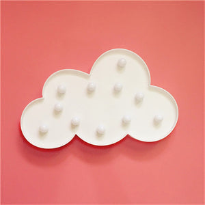 1*3D Snow White Clouds Shaped LED Lights Badroom Wall Decoration Night Light Hanging Standing Battery-powered Clouds LED Lights