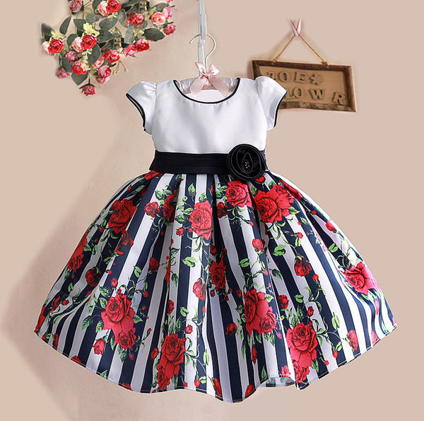1-6Y Floral Print Baby Girls Dress Black Striped Rose Cotton Kids Dresses for Party Birthday kinderkleding meisjes