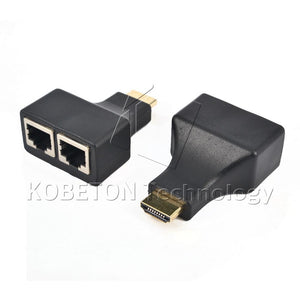 1 Pair HDMI To Dual Port RJ45 Network Cable Extender by Cat 5e 6 Cable Up to 30Meters Full HD 1080P D32 for HDTV HDPC STB