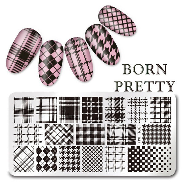 1 Pc BORN PRETTY 12*6cm Rectangle Nail Stamping Template Image Plate L040 41 42 43 45 Available