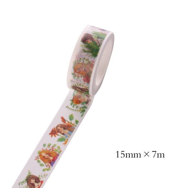 1 Pc Size 15 Mm*10m Diy Leaf Floral Cat Japanese Paper Washi Tapes masking Tape decorative Adhesive Tapes school Supplies