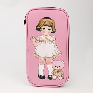 1 Pcs Cartoon Retro Doll Pencil Cases Office School Supplies Simple Leather Creative Bag Storage
