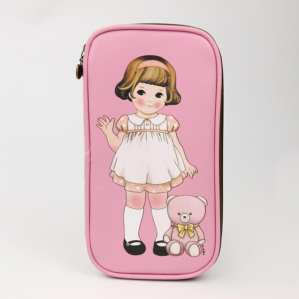 1 Pcs Multifunction Creative Leather Doll and Bear Pattern Cosmetic Bag Pencil Case Bag Storage Pouch