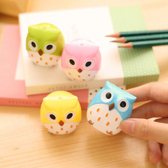 1 Pics Candy Color Cute Owl Kawaii Professional Pencil Sharpener Stationary Cute For School Office Supplies Kids Student