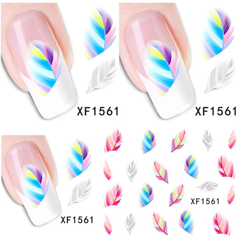 1 Aheet XF1561 Watermark Water Transfer Design Feather Rainbow Colors Tip Nail Art Sticker Nails Decal Manicure Tools