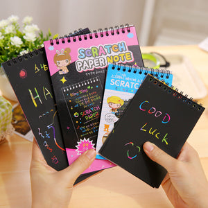 1 Book 10 Sheets Kids Painting Set Scratch Paper Colorful Magic Scratch Art Painting Paper With Drawing Stick Baby Playing Toys