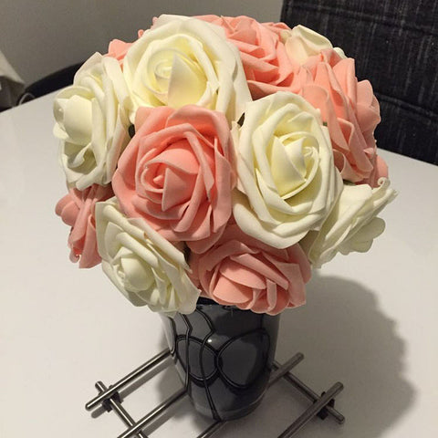 1 Bouquet 10 Heads Artificial Rose Flower Wedding Bride Bouquet PE Foam DIY Home Decor Rose Flowers VB364 P20
