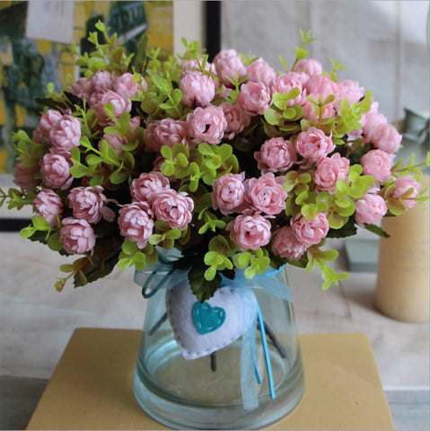 1 Bouquet 15 Heads 4cm Vintage Wedding Mini Rose Artificial Silk Flower bouquet Home Decoration Cheap Fake Scrapbooking Flower