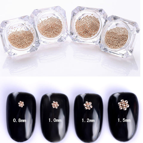 1 Box 0.8mm 1mm 1.2mm 1.5mm Steel Beads 3D Nail Decoration Fashion Manicure Nail Art Decoration