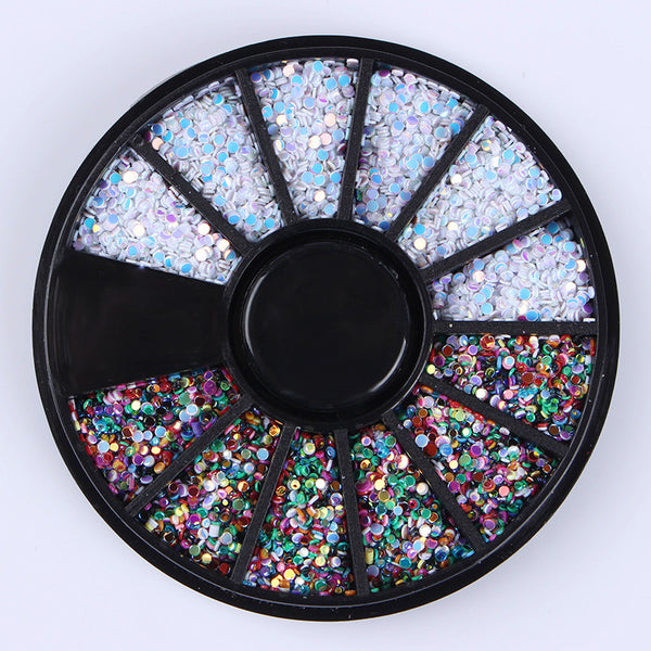 1 Box 1mm Mixed Color 3D Nail Decoration Colorful Round Wafer Decoration In Wheel DIY Manicure Nail Art Accessories