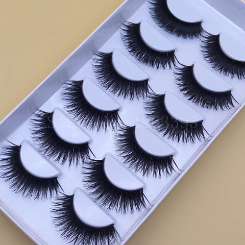 1 Box 6 Pairs Fashion Thick False eyelashes High-quality Fiber Natural Lashes Black Terrier Eyelashes Woman Makeup Eyelashes