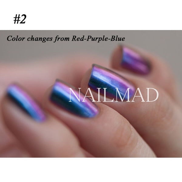1 box Chameleon Nail Glitter Powder Multichrome Powder Chrome Pigment Shimmer Galaxy Glitter Powder Nail Decoration 3ml